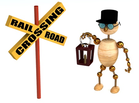 3d railroad crossing sign and wood man isolated Stock Photo
