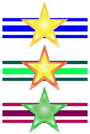 Vector star set with different color background Stock Photo - 8919528