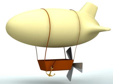 3d cartoon dirigible balloon isolated on white Stock Photo