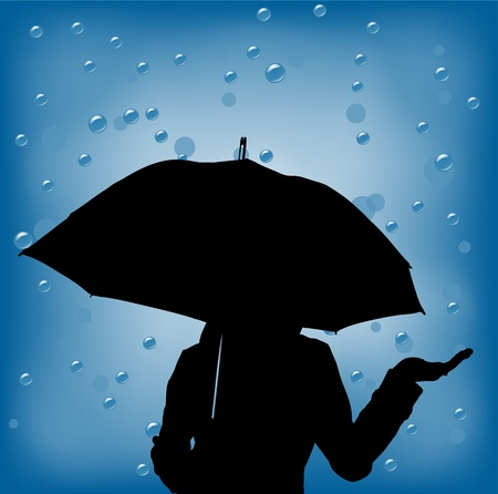 young woman in a rainy day holding ubrella Stock Photo