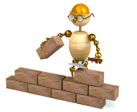 3d wood man builder isolated on white Stock Photo