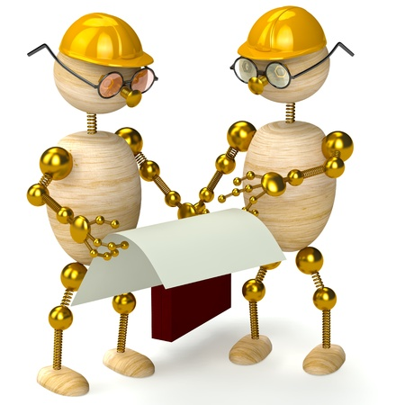 two 3d wood man engineers isolated on white Stock Photo