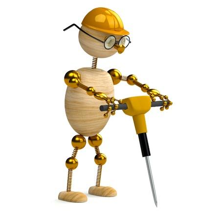 presslufthammer: 3D Holz Mann arbeitet mit jackhammer