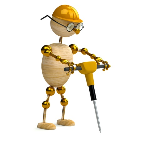 jackhammer: 3d wood man is  working with jackhammer