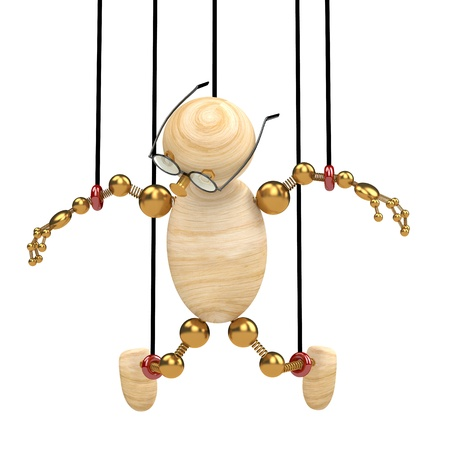 3d wood man suspended on laces  isolated Stock Photo