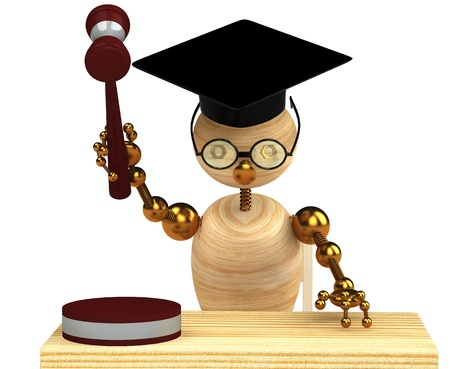 3d wood man holding a gavel isolated on white photo