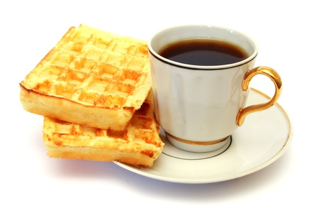 white cup of coffee isolated on white with waffle photo