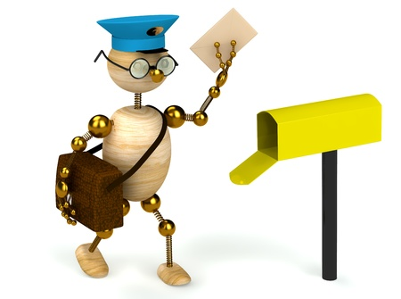 3d wood man postman  bring a letter isolated Stock Photo