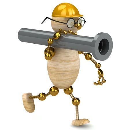3d wood man carring a pipe isolated