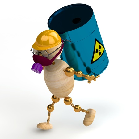 3d wood man with a radioactive waste isolated