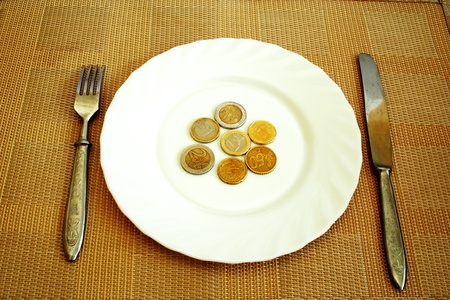 European currency on the white plate like food