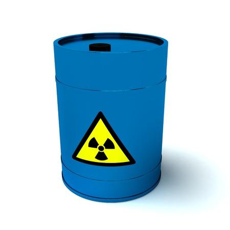 barrel radioactive waste: 3d blue barrel radioactive waste isolated on white