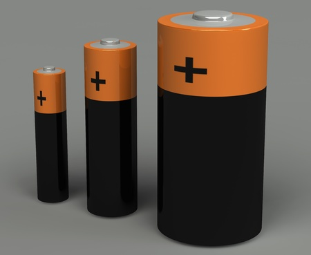 3d set of battery on the grey background Stock Photo - 9299362