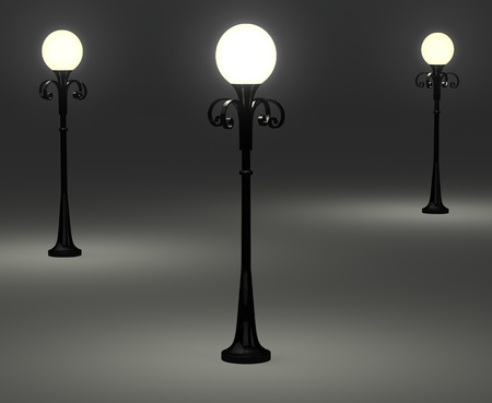 3d old fashioned lamp posts on grey photo