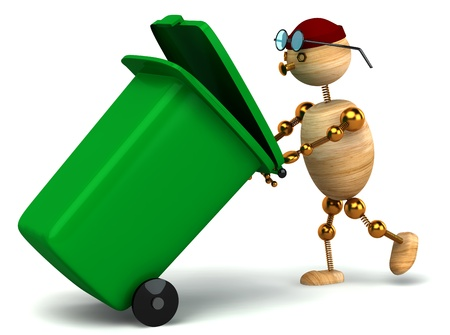 public waste: 3d wood man pulling green waste container on white Stock Photo