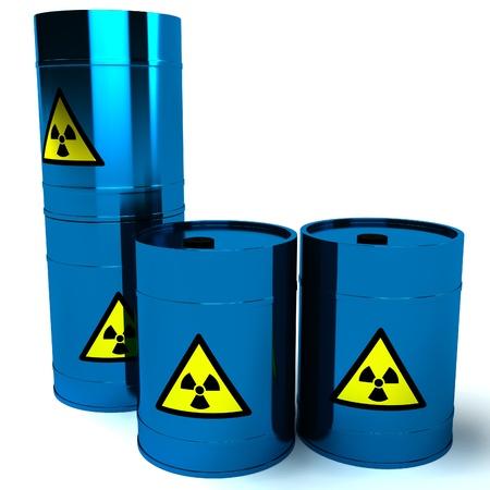 radioactive waste: 3d blue barrel radioactive waste isolated on white