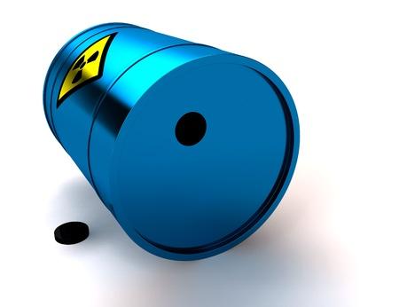 3d blue barrel radioactive waste isolated on white Stock Photo - 9299350
