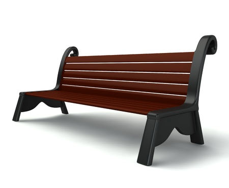 3d wooden bench isolated on white background