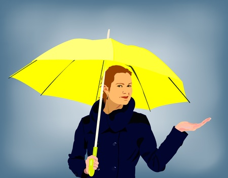 young woman in a rainy day holding ubrella photo