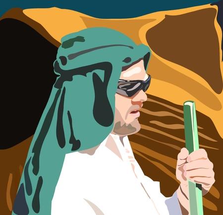 bedouin: vector illustration of bedouin man in the desert