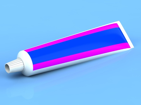 3d rendered toothpase on the blue background photo