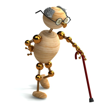3d rendered wood man old with walking stick photo