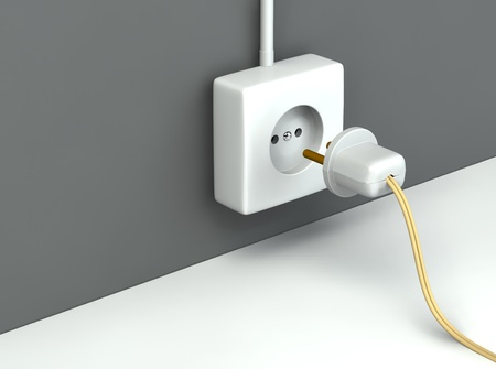 3d rendered standart outlet with  a plug Stock Photo - 9403071