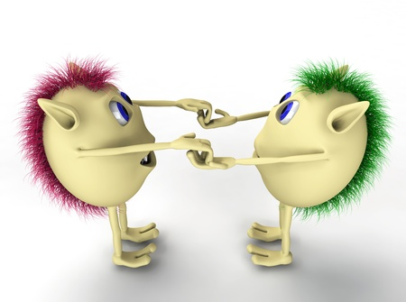 3d two character puppets holding each other hands Stock Photo - 9516345