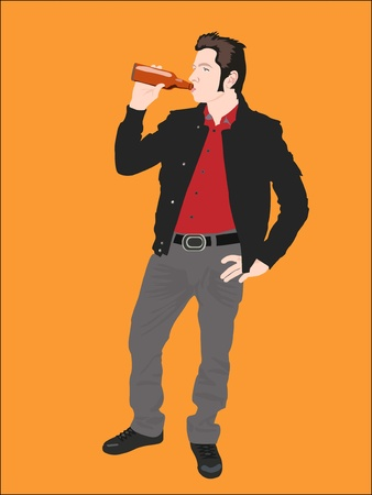 Young man drinking bottle of beer on orange photo