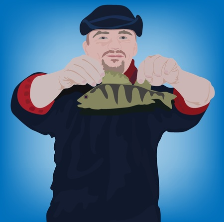 fishman: vector illustration of the happy fishman with fish