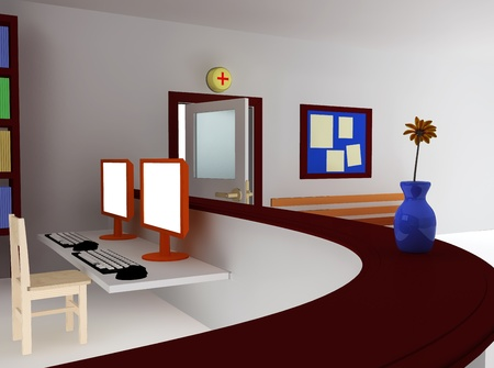 3d rendering of hospital waiting room and registry photo