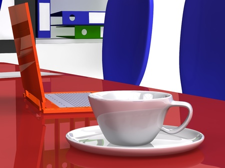office desk with orange laptop and coffee photo