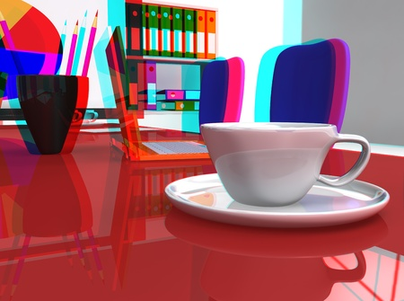 3D stereoscopic office desk with orange laptop and coffee photo