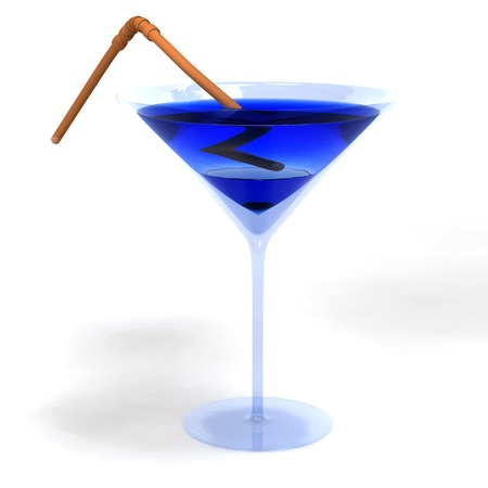 gulp: Blue colored cocktail in glass with brown straw