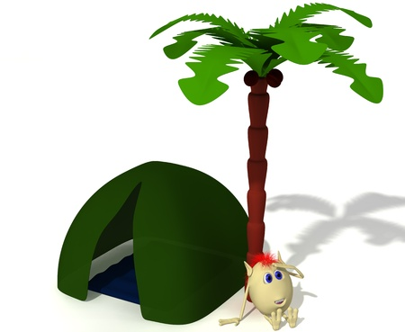 Puppet sitting near green tent under hing palm photo