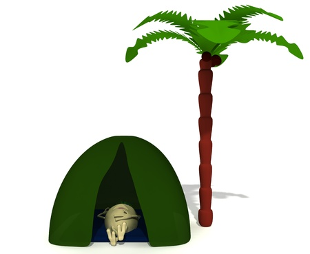 Puppet rest under green tent near high palm photo