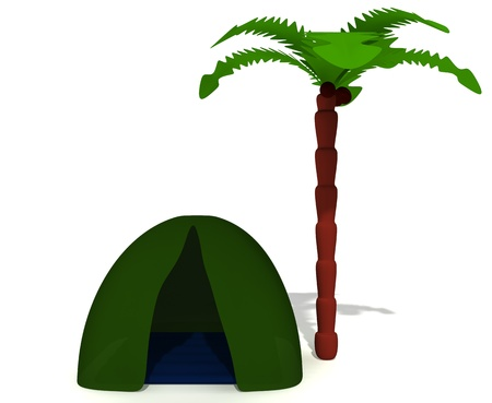 Green tent near high palm without sleeping puppet photo