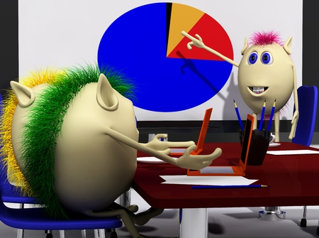 Three puppets discussing over colorful chart on screen photo