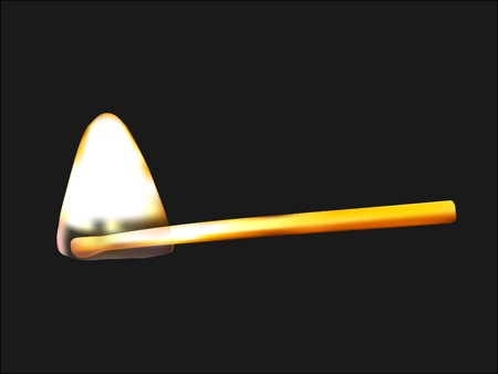 Burning match triangular fire flame on black background Vector