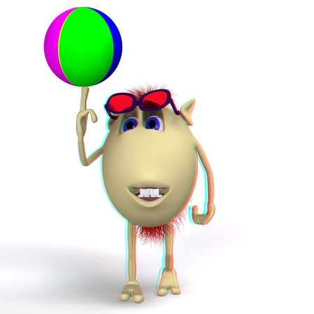 stereoscopic: Stereoscopic puppet playing colored ball on white background