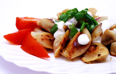 zoomed: Zoomed foto of dumplings and tomato on plate Stock Photo