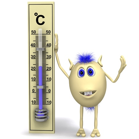 Blue haired happy puppet standing near big thermometer photo