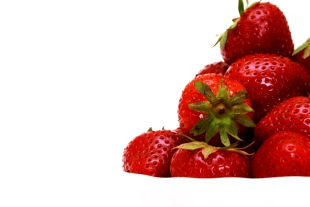 zoomed: Zoomed foto of ripe strawberry in white studio