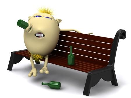 drunkard: Yellow haired drunkard puppet sitting on park bench Stock Photo