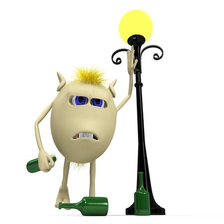 drunkard: Yellow haired drunkard puppet standing near metal latern