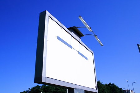 Side foto of  white advertising billboard without commertial photo