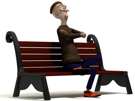School teacher enjoys today weather on brown bench photo