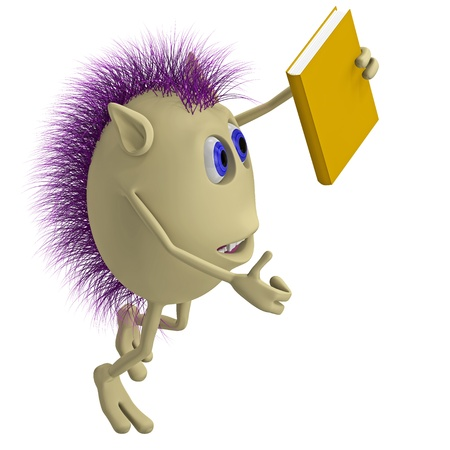 3D puppet with purple hairs holding yellow book photo