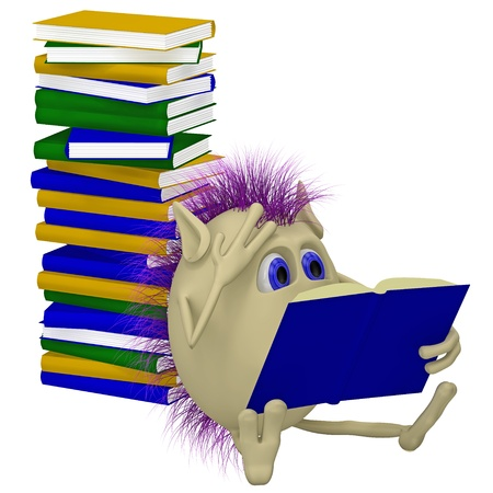 3D puppet sitting before pile of books photo