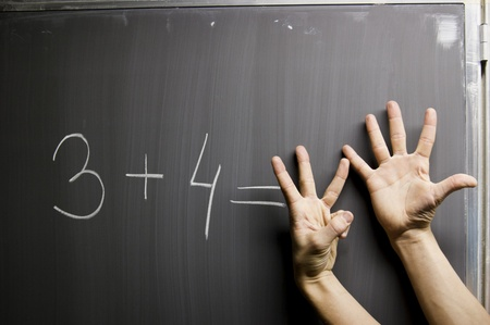 Hands symbolize wrong answer on mathematic formula question photo
